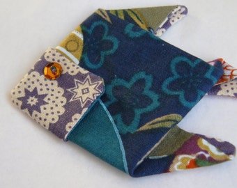 origami fish in purple and blue Japanese fabric brooch