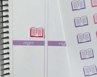 54 Open Book Stickers for Erin Condren Planner, Filofax, Plum Paper