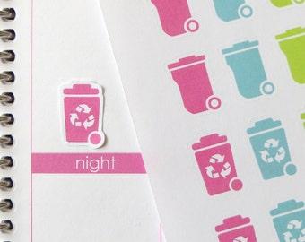 32 Trash Can/24 Recycle Stickers for Erin Condren Planner, Filofax, Plum Paper
