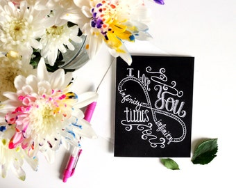 Love Card, Anniversary Card, Chalk Art, I Love You Infinity Times Infinity, Typography, Hand Lettered, I Love You Card, Chalkboard Card