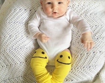 Smiley Face Leg Warmers for baby, Hippie baby, Smiley Face Leg Warmers, Smiley Face baby leg warmers, boho baby, bohemian baby