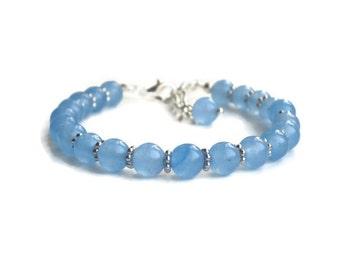 Aquamarine bracelet, silver jewellery, March birthstone, silver bracelet, delicate bracelet