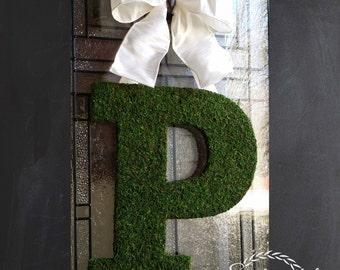 """18"""" Moss Letter Wreath,Front Door Initial Wreath,4 Fonts,Wedding Monogram,Church Door Letters,Barn Wedding Decor,Nursery Door Monogram, Moss"""