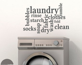 Laundry Room Words Mural Subway Art Vinyl Wall Decal Sticker