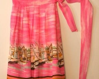 LOUBEN Pink Rayon Crepe skirt