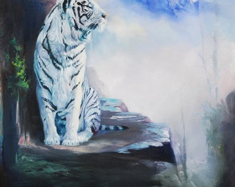 """White Tiger - Bonnie Stager original oil painting 22""""x28"""""""
