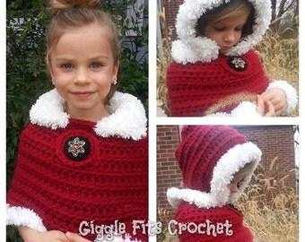 Winterland Capelet  PATTERN ONLY Crochet Capelet Pattern, Girls Capelet Crochet Pattern, Crochet Poncho, Beginner's Cape Pattern Shawl Wrap