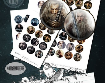 HOBBIT Digital collage sheet 1inch Us Letter + 4x6 sheet,craft supplies,printable,pendants,magnets,circles,party stickers,round circles