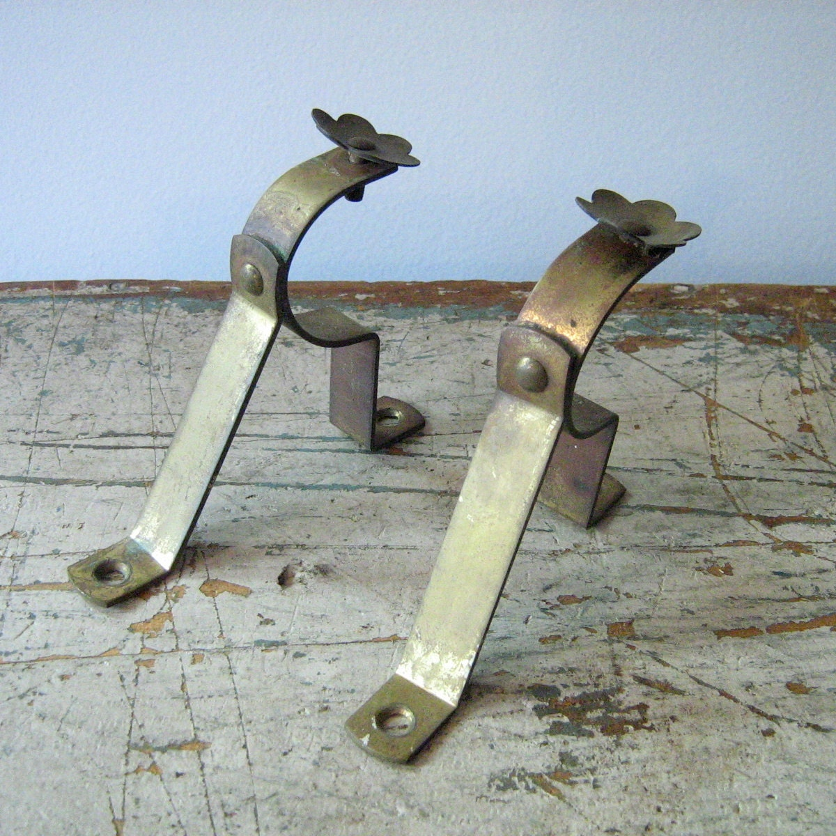 antique solid brass curtain rod holders set of 2