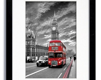 London Red Bus - Westminster Bridge - Mounted & Framed Print
