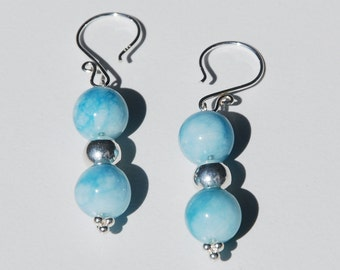 Handmade Sterling Silver and Larimar Earrings. silver & Dominican Republic Larimar earrings. larimar and bali silver, Real Larimar earrings