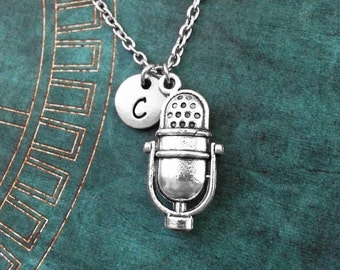 Microphone Necklace, SMALL Mic Necklace, Personalized Jewelry, Broadcasting Gift, Radio Necklace, Radio Jewelry Musician Gift Music Necklace