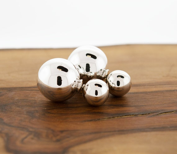 silver double ball earrings