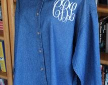 Monogrammed Denim Shirt in Unisex Sizing