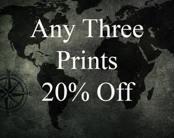Save 20% on Any Three Prints from TheWorldExplored! - Travel Photography, Print, Wall Art, Wall Decor