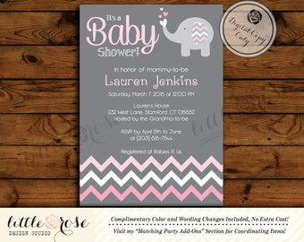 Baby Elephant Invitation - Baby Shower Invitation - Elephant Invitation - Girl Baby Shower - Printable Invitation - Digital File