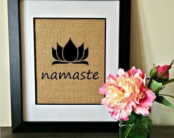 Namaste burlap print. Yoga print. Lotus print.