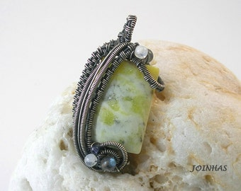 Silver Pendant, Wire Wrapped Jewelry Handmade, Woven Wire Jewelry, Sterling Silver Pendant, Wire Wrap Yellow Pendant, Natural Stone Pendant