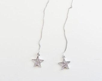 sparkling star threader earrings/threader earrings/star threader earrings/silver star earrings