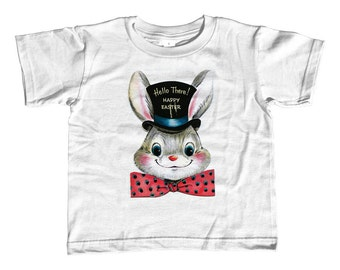 Happy Easter Kids T-Shirt - Dapper Easter Bunny Kids TShirt - Youth and Toddler Sizes - 2T-Youth Large