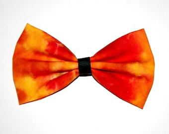 Tie-Dye Fire Bow Hair Clip