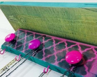 Floating shelves Reclaimed pallet wood shelf /jewelry holder wall shelving /hot pink morrocan decor quatrefoil 4 hooks 3 hand-painted knobs