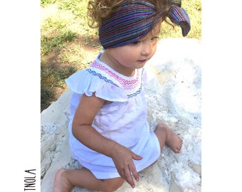 Baja striped hearwrap-rainbow tied baby turban-tied girls turban-gauze adult turban-summer headwrap-girls headwrap