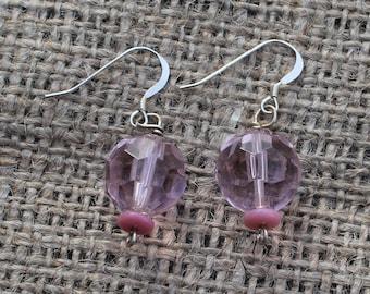 Pink beaded earrings, sterling silver ear wire