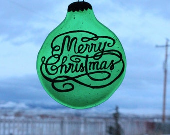 Merry Christmas Ornament, Christmas Stained Glass, Merry Christmas Art, Christmas Ornament, Holiday Decor,Window Decoration, Stained Glass