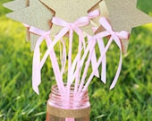 Pink and Gold Princess star wands with bows - set of 8