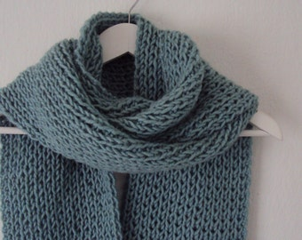 Infinity scarf, long scarf, Light blue, thick wool, extra long, hand-knitted