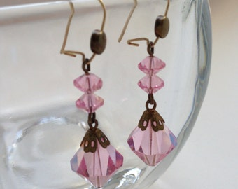 Vintage Pink Lead Crystal Earrings Kidney Wire from the 1950's