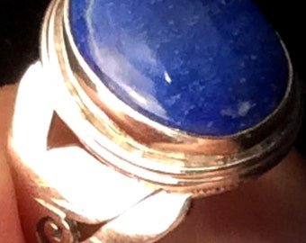 Size 7.5 Sterling Silver Ring. Blue Lapis free US ship