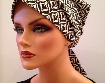 Gabrielle Head Scarf -Black and White Geo - Women's Cancer Headwear, Chemo Scarf, Alopecia Hat, Head Wrap,  Head Cover for Hair Loss.