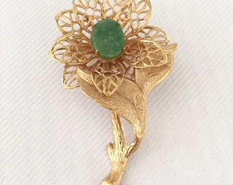 Vintage Filigree Flower Brooch  with Jade Green Center in Gold Tone  Metal - Bride, Wedding, Mother of the Bride, Bridesmaids
