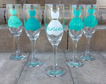 10 Bridesmaid Champagne Flutes, Champagne Glasses, With Dress, Maid of Honor Toasting Flute, Bridesmaid Toasting Flutes