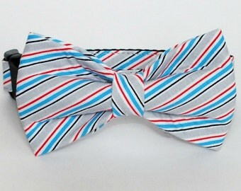 Striped fabric bow tie for dog/cat collars, patriotic, pet bow tie, collar bow tie, wedding bow tie
