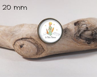 Brooch Little Prince 20mm dia. pin on glass dome