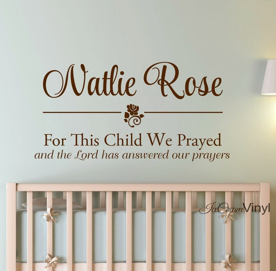 Name Wall Decal For This Child We Prayed Kids Wall Decal Childrens Decor 1 Samuel 1:27