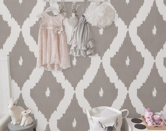 Removable Self adhesive vinyl wallpaper, wall decal - Ikat pattern  - 041 SNOW/ GRAVEL