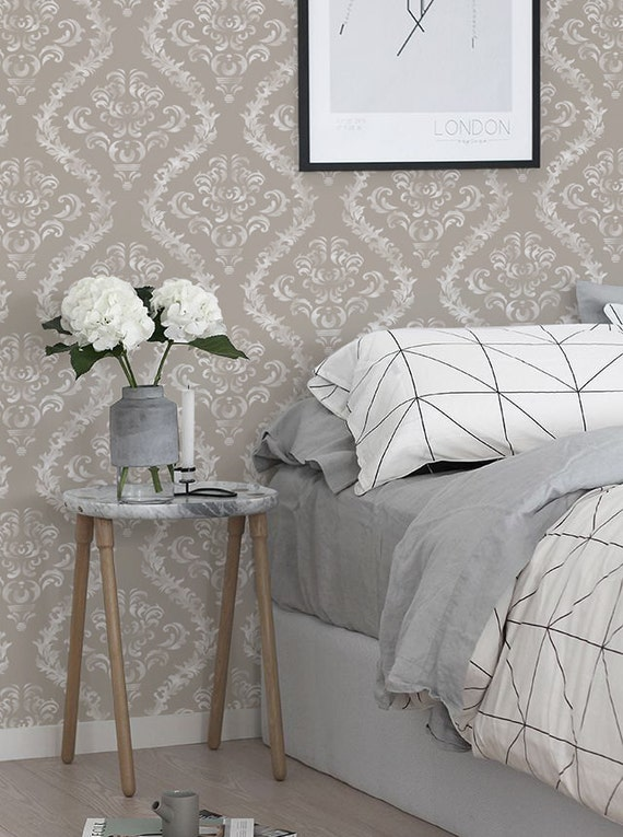 Damask peel and stick self adhesive vinyl wallpaper by betapet for Vinyl peel and stick wallpaper