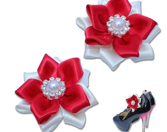Wedding Bridal Flower Ribbon Shoe clips - Bridal Shoe clip, Romantic Shoe Decoration, Rhinestone ShoeClip