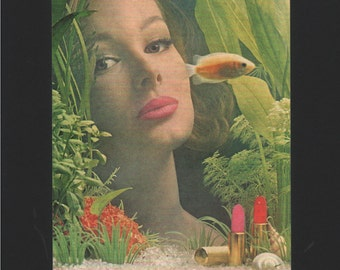 Vogue magazine ad for Dorothy Gray lipstick featuring aquarium scene, matted - Beauty0274