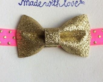 Gold Baby Headband, Gold Bow Headband, Gold Polka Dot Headband, Neutral Headband, Children's Accessory, Pink Headband