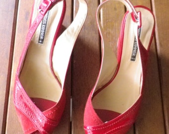Platform shoes offset CHARLES KAMMER, painted leather and Red Suede, size 40 or US 8 new