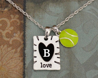 Custom Initial Enamel Tennis and Love Necklace