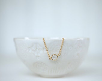 Clear Crystal Gem and Gold Bracelet, Bridesmaid Bracelet, Wedding Jewelry
