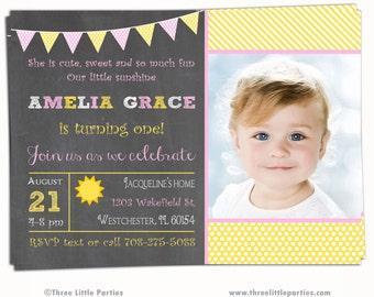 Sunshine Invitation - Chalkboard Sunshine Birthday Party Invitation  - Printable Invitation - First Birthday - 2nd Birthday - 3rd Birthday