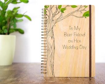 Wood Wedding Journal, Friend Wedding Gift, Gift for Bride, Best Friend Wedding, Personalized Wedding Gift, Bride Notebook, Wedding Favors