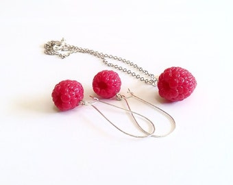 Set  Earring and Necklace Raspberry Jewelry - Gifts - Red Raspberry, necklace, bride jewelry